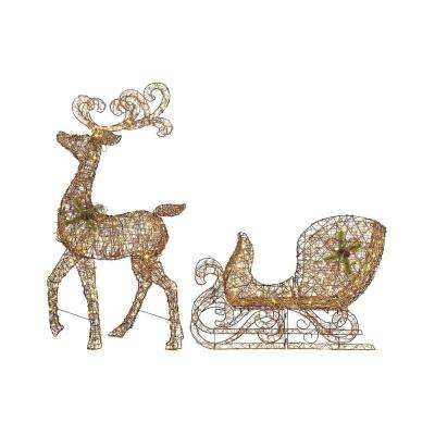 65 In Led Lighted Grapevine Reindeer