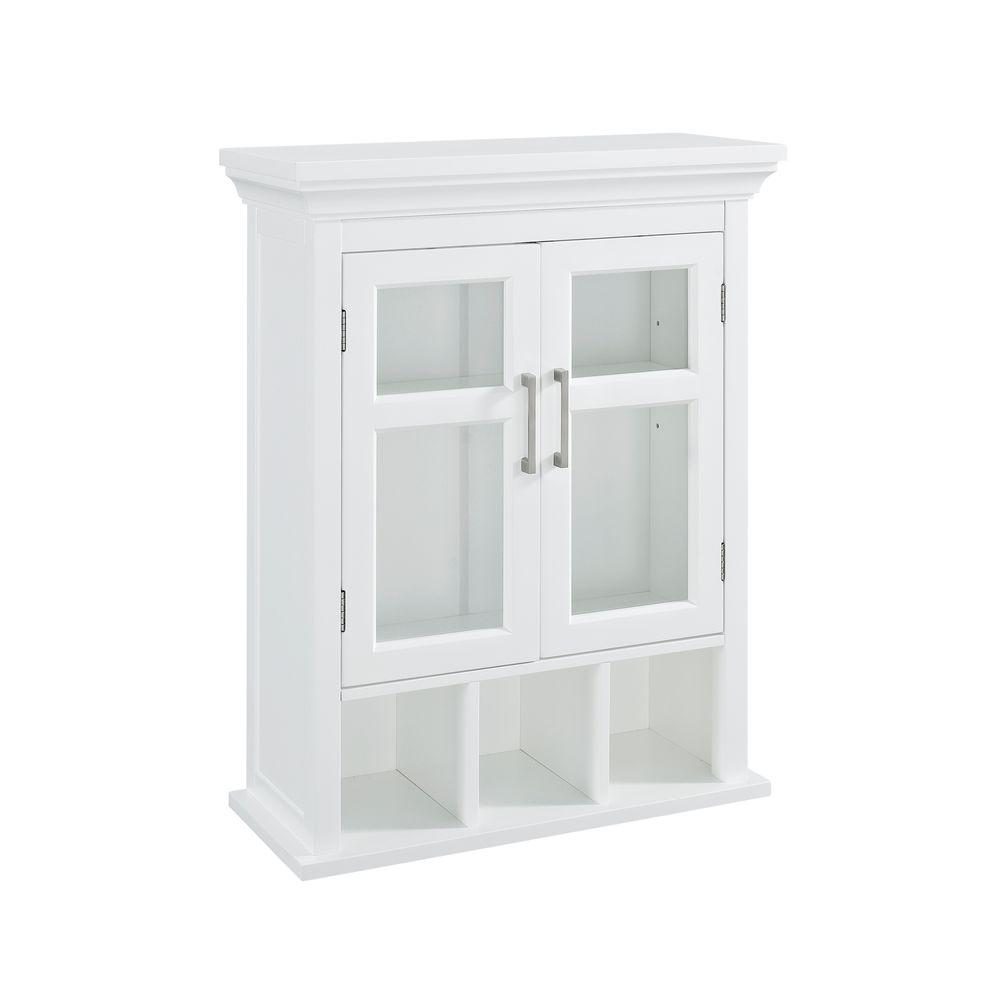 Simpli Home Avington 23 63/100 In. W X 30 In. H X 10 In. D Bathroom Storage  Wall Cabinet With 2 Tempered Glass Doors In White AXCBC 006 WH   The Home  Depot