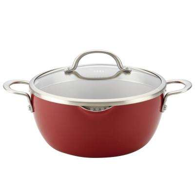 Home Collection 5.5 Qt. Porcelain Enamel Nonstick Covered Straining Casserole in Sienna Red