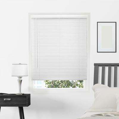 Gloss White Cordless 1 in. Vinyl Mini Blind - 31 in. W x 64 in. L