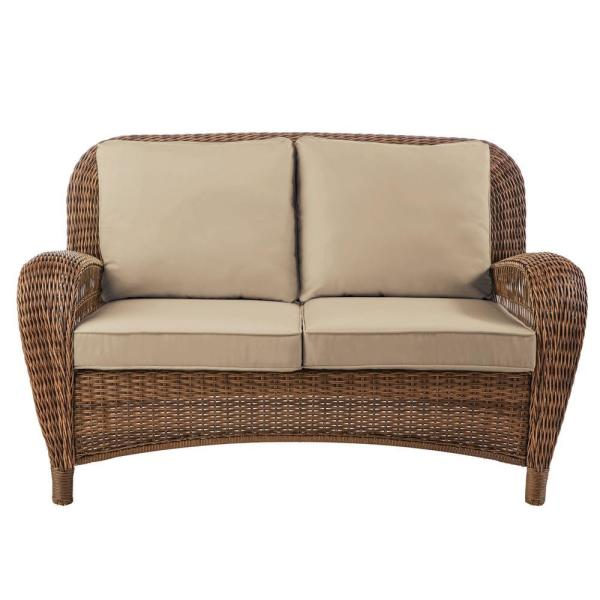 Beacon Park Brown Wicker Outdoor Patio Loveseat with Sunbrella Beige Tan Cushions