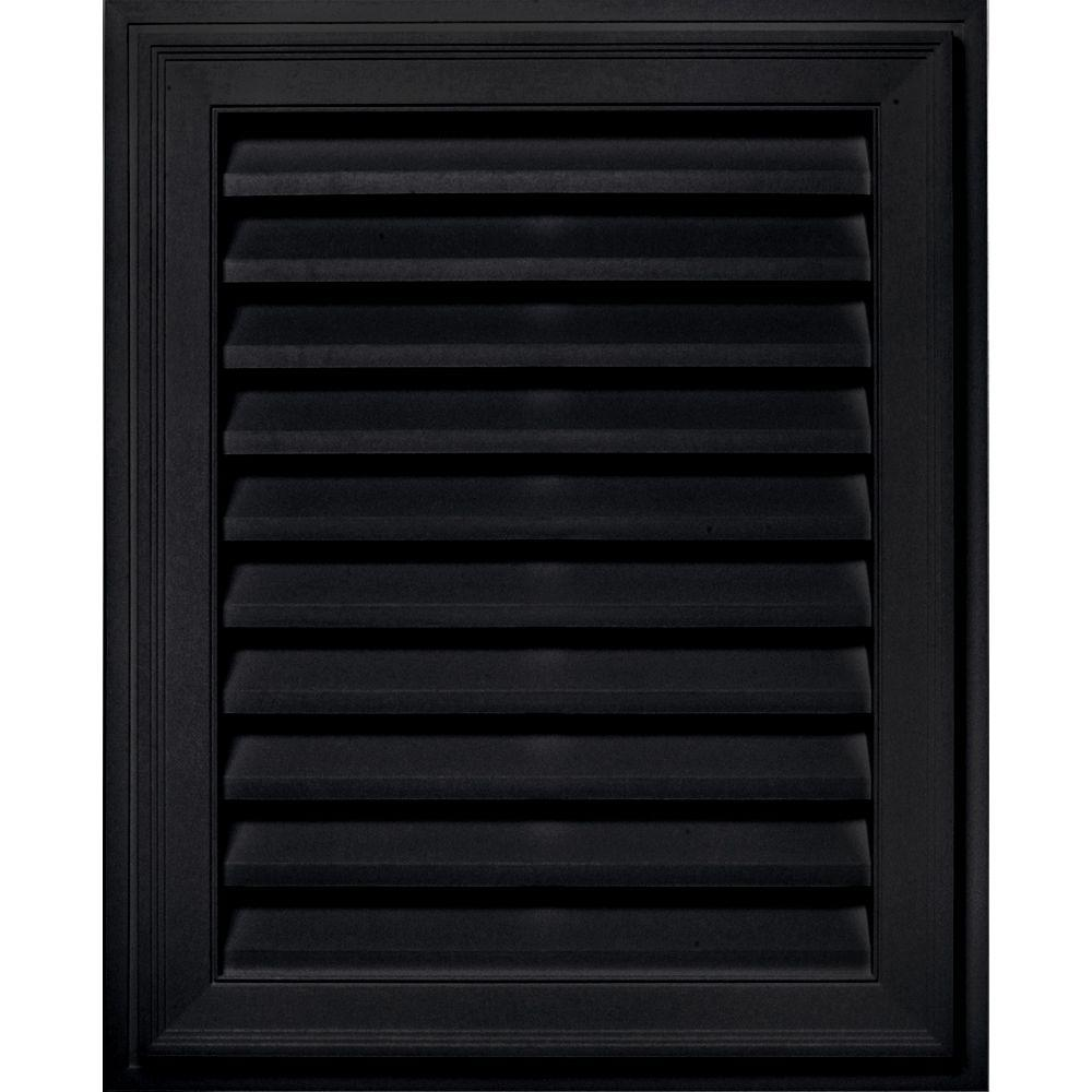 20 in. x 30 in. Brickmould Gable Vent in Black