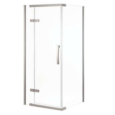 36 in. x 36 in. x 76 in. 3-Piece Corner Frameless Shower Enclosure in Stainless