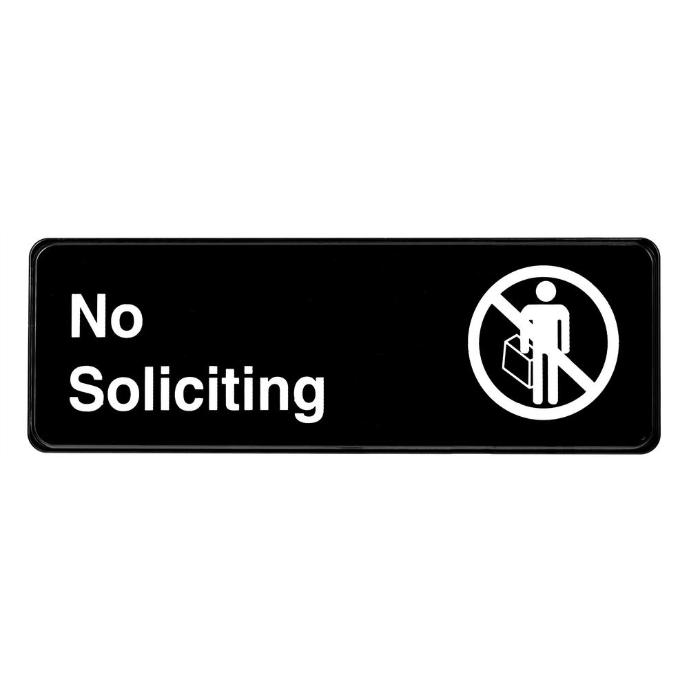 AlpineIndustries Alpine Industries 9 in. x 3 in. No Soliciting Sign, Black