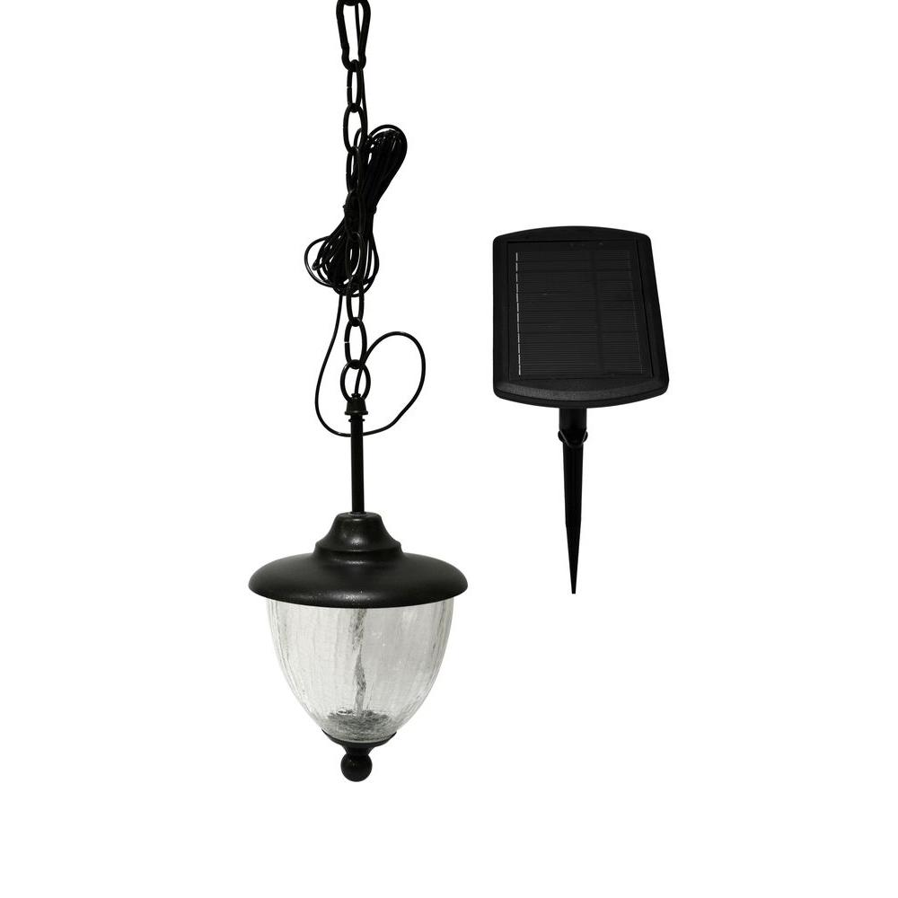 Nature Power 4 Light Black Indoor/Outdoor Solar Powered LED Hanging Shed  Light With Remote Control 21030   The Home Depot