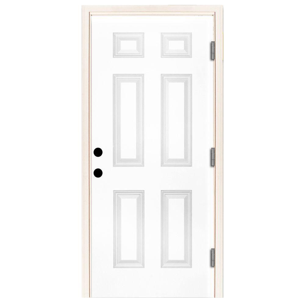 Steves & Sons 32 in. x 80 in. Premium 6-Panel Primed White Steel Prehung Front Door with 32 in. Left-Hand Outswing and 6 in. Wall