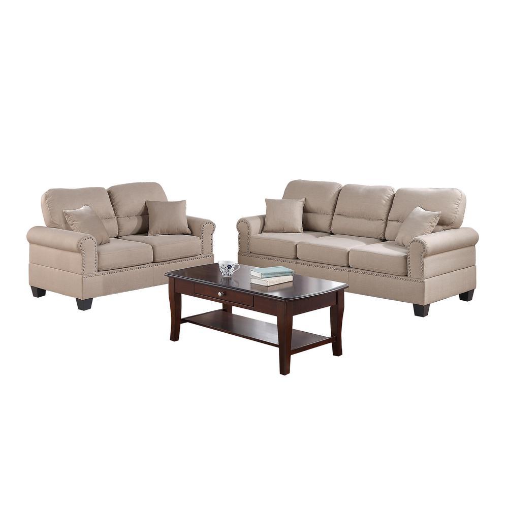 Bobkona 2-Piece Sand Linen-Like Sofa Set