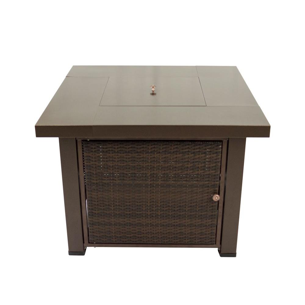 Square Wicker And Steel Gas Fire Pit Table In Hammered