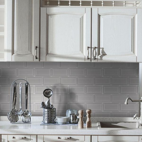 Jeffrey Court Weather Grey Bevel 3 In X 6 In Subway Glossy Ceramic Wall Tile 11 Sq Ft Case 96498 The Home Depot