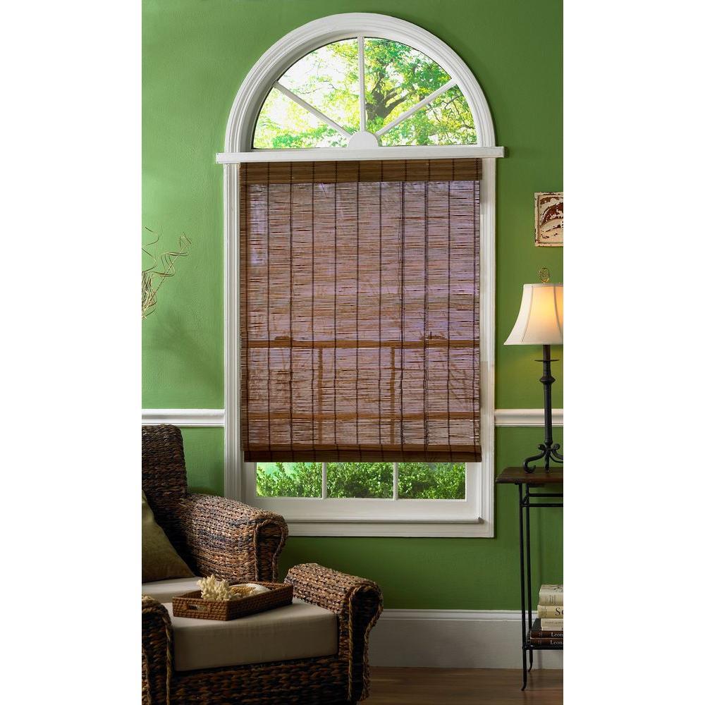 Hampton Bay Caramel Simple Weave Flatstick Bamboo Roman Shade - 66 in. W x 72 in. L