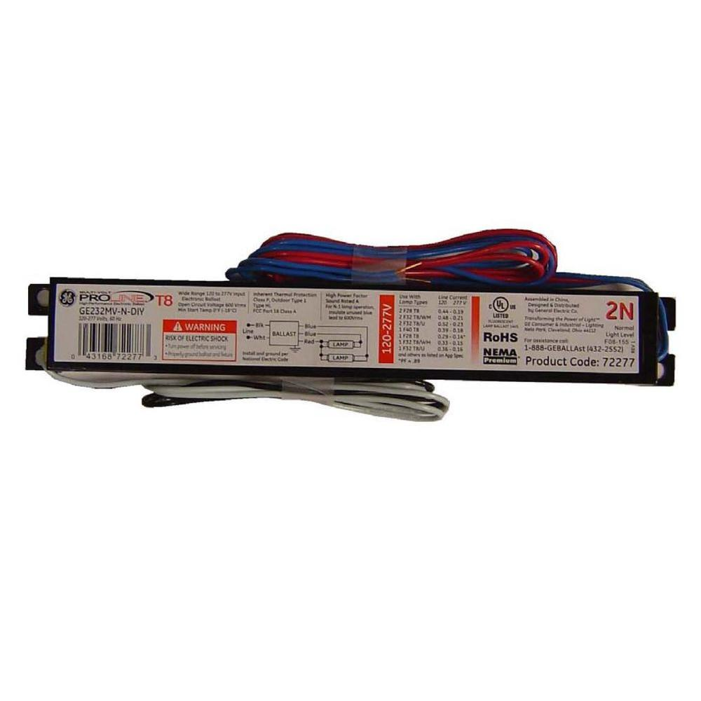 120 to 277-Volt Electronic Ballast for 4 ft. 2-Lamp T8 Fixture