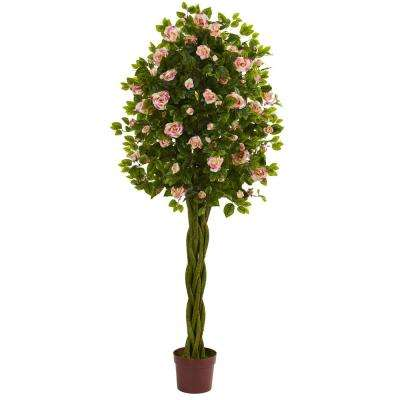 6 in. Rose Artificial Tree with Woven Trunk