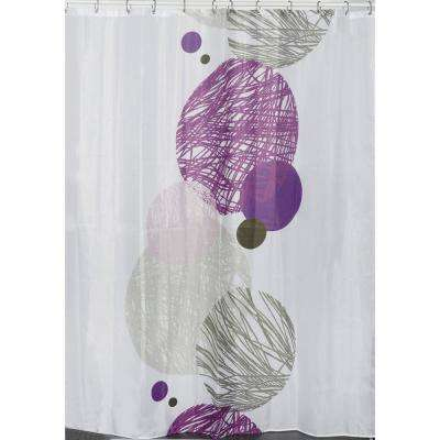 Valentine 71 in. x 79 in. Multicolored Polyester Printed Fabric Shower Curtain