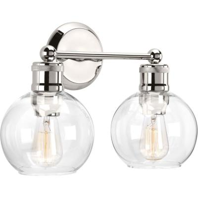 Hansford Collection 2-Light Polished Nickel Bathroom Vanity Light with Clear Globe Shades