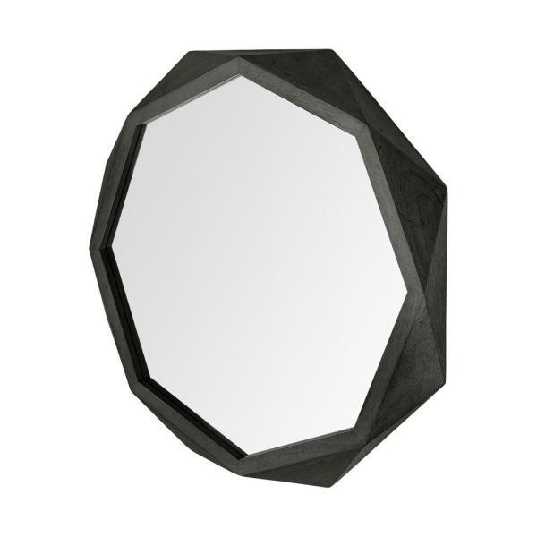Large Irregular Black Contemporary Mirror (41.0 in. H x 41.0 in. W)