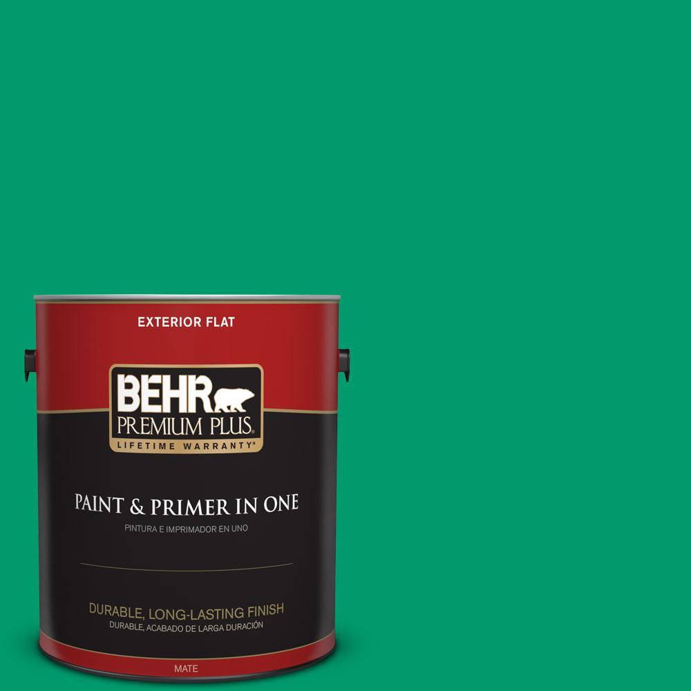 BEHR Premium Plus 1-gal. #S-G-460 Mint Sprig Flat Exterior Paint