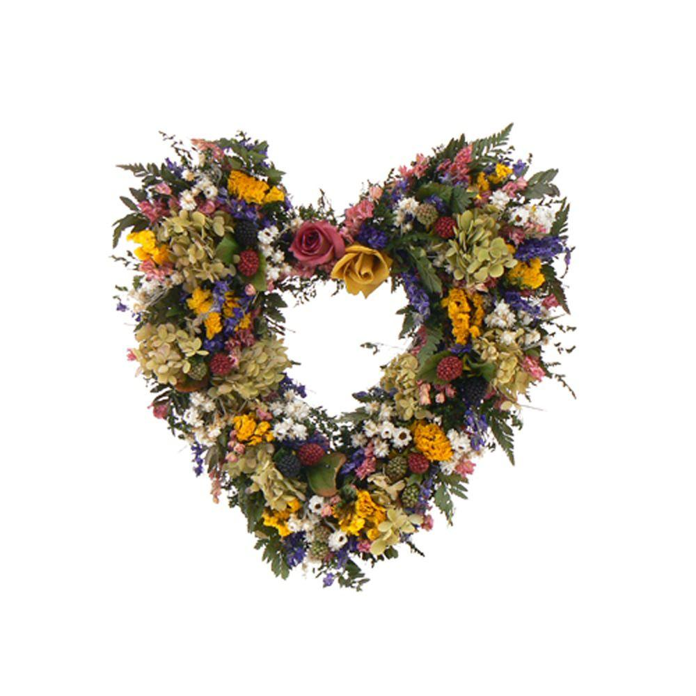 The Christmas Tree Company Petals and Pomes 16 in. Dried Floral Heart Wreath