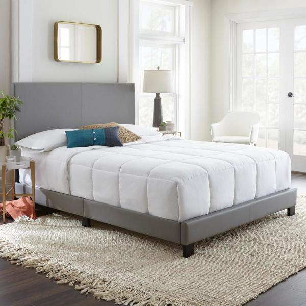 Rest Rite Barrett Gray Full Upholstered Platform Bed HDBARGDB