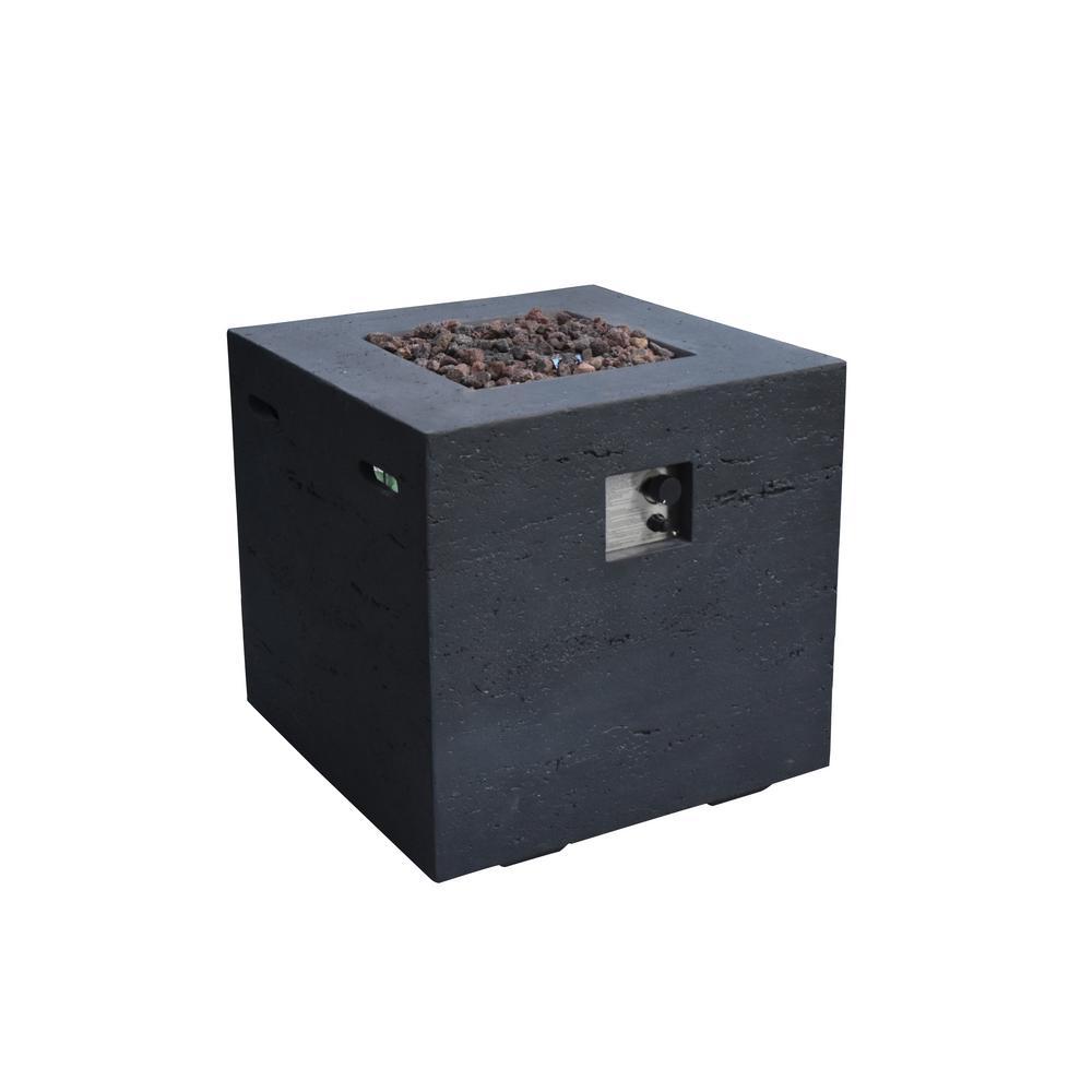 Ellington 27 in. x 26 in. Square Concrete Propane Fire Pit Table in Black