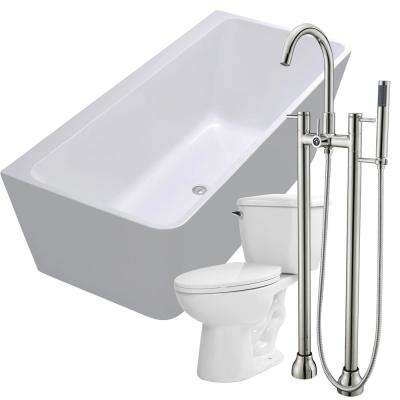Strait 67 in. Acrylic Flatbottom Non-Whirlpool Bathtub in White with Sol Faucet and Kame 1.28 GPF Toilet