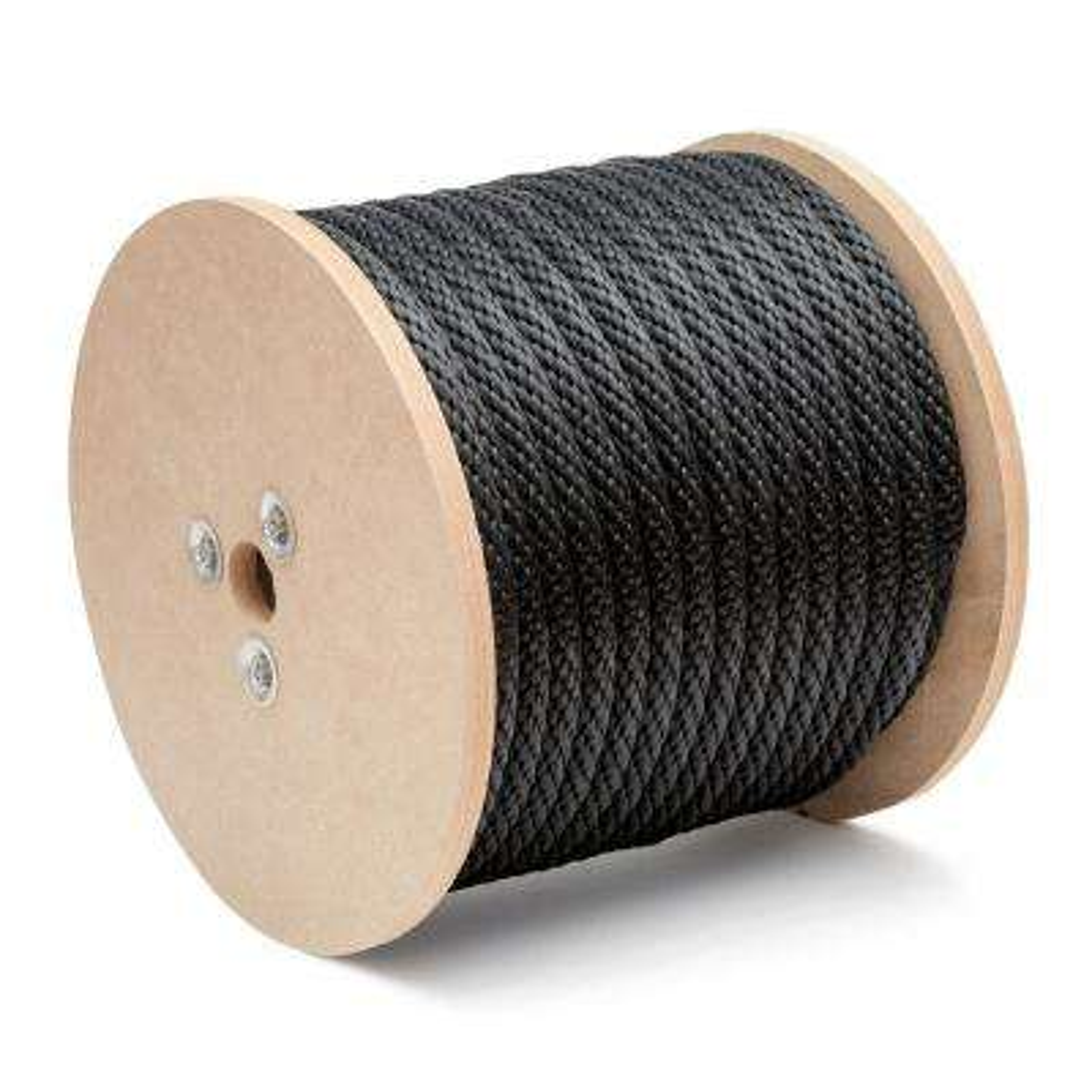 3/8 in. x 600 ft. Polypropylene Multi-Filament Solid Braid Derby Rope, Black