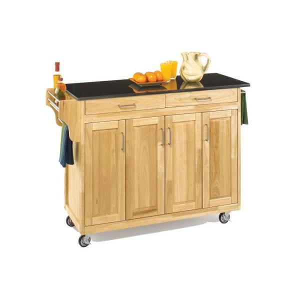 Create-a-Cart Natural Kitchen Cart with Black Granite Top