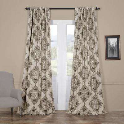 Semi-Opaque Henna Black Blackout Curtain - 50 in. W x 108 in. L (Panel)