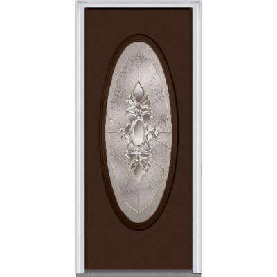30 in. x 80 in. Heirloom Master Right-Hand Inswing Oval Lite Decorative Painted Steel Prehung Front Door