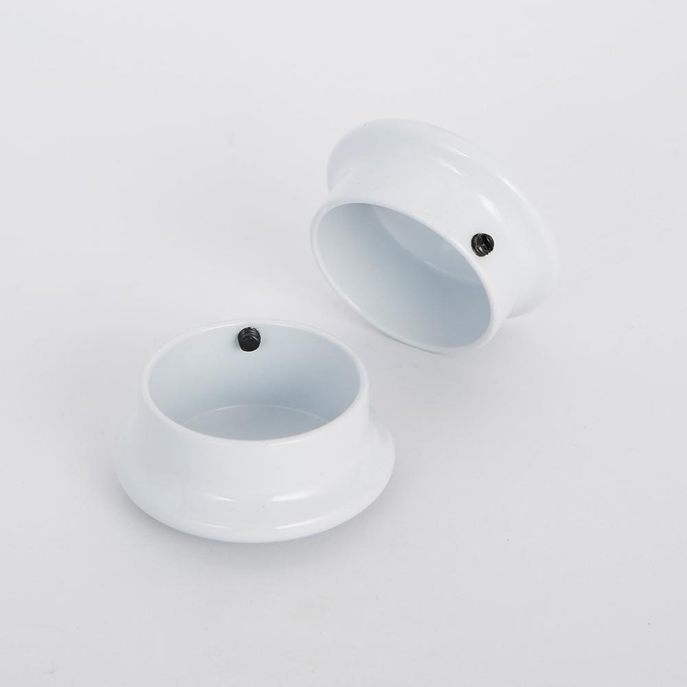 1-5/16 in. Heavy-Duty Decorative White Closet Pole End Caps (2-Pack)
