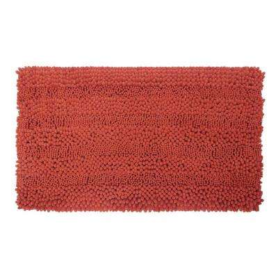 Astor Striped Chenille Coral 17 in. x 24 in. Plush Bath Mat