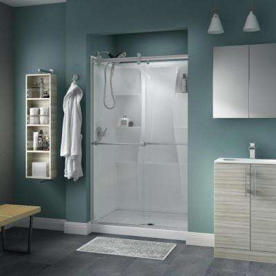 Contemporary 48 x 74 in. 5-Piece Shower Kit with Nickel Door, Clear Glass and White Classic 400 Shower Base and Wall Set