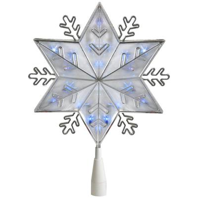 10 in. Silver 8-Point Snowflake Christmas Tree Topper - Blue Lights