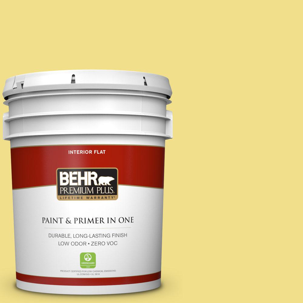 5 gal. #HDC-SP16-03 Lemon Curd Zero VOC Flat Interior Paint