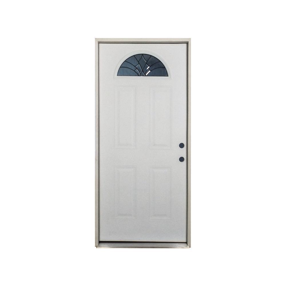 Steves Sons 36 In X 80 In Webville Fan Lite Primed White Fiberglass Prehung Front Door
