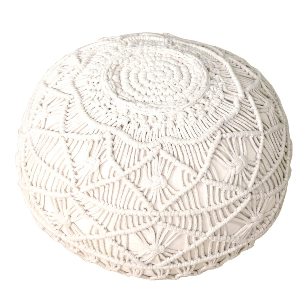 Macrame Natural 20 in. x 16 in. Round Indoor Pouf