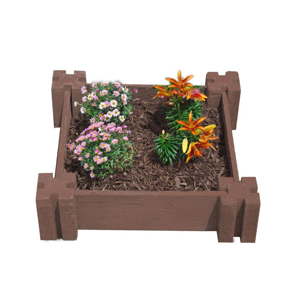 null Easy Garden 24 in. by 24 in. Concrete Raised Garden Bed Redwood Forest-DISCONTINUED