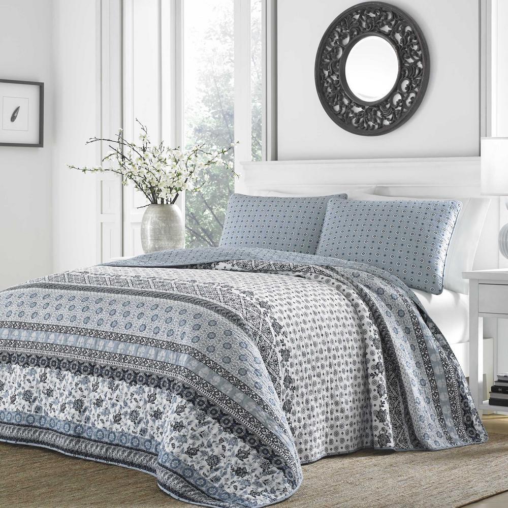Bexley 3-Piece Blue Floral Cotton King Quilt Set