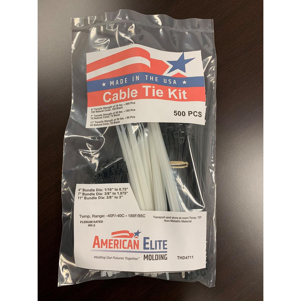 American Elite Cable Tie Kit 500 Pieces NEW **Made in the USA**