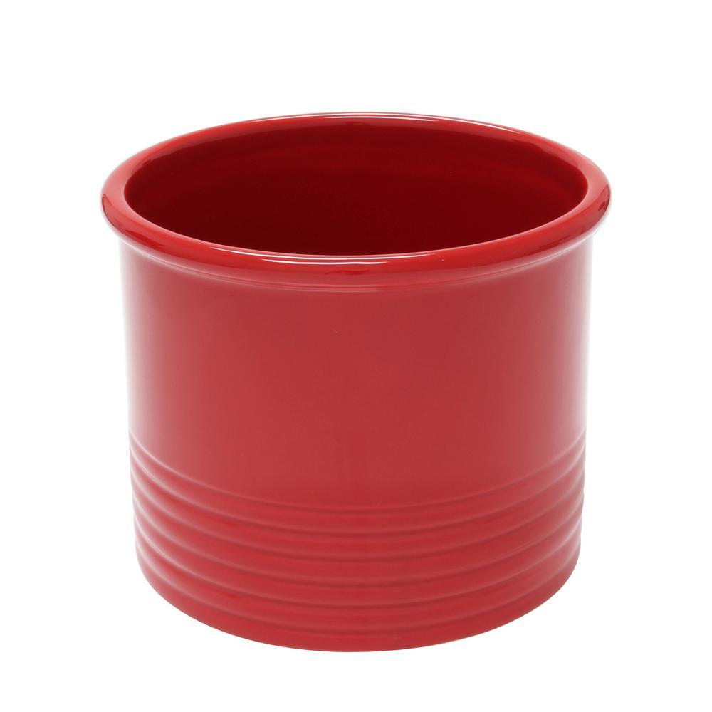 True Red Large Ceramic Utensil Crock
