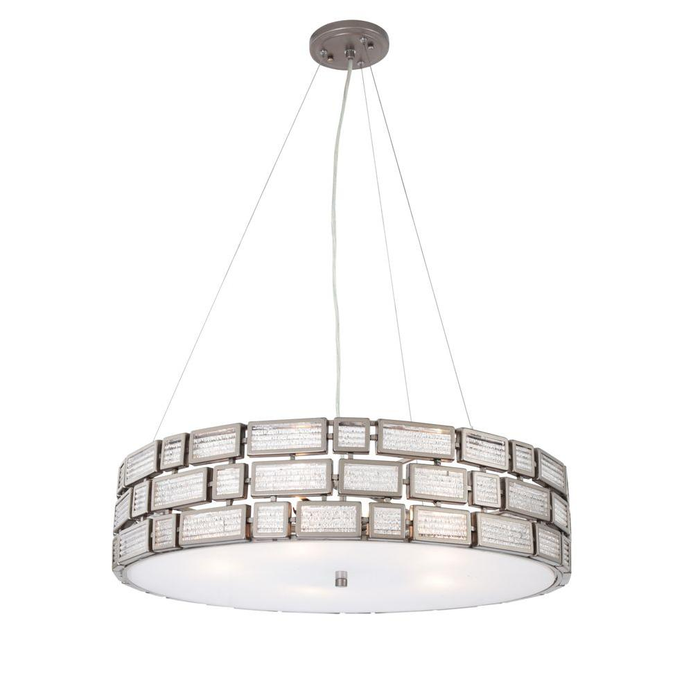 Varaluz Harlowe 5-Light New Bronze Pendant with Textured Ice Glass