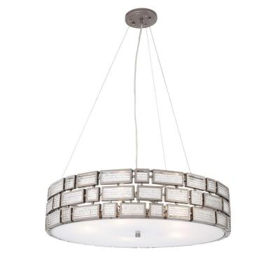 Harlowe 5-Light New Bronze Pendant with Textured Ice Glass