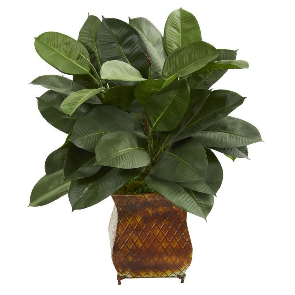 Nearly Natural Indoor 28-In. Artificial Rubber Plant in Brown Metal Planter