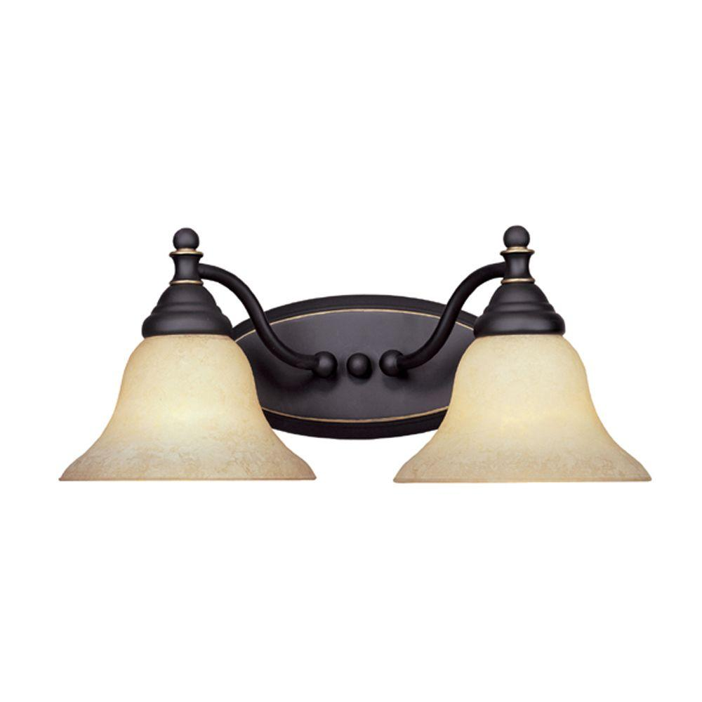 Designers Fountain Ellsworth Collection 2-Light Aged Bronze Wall Mount Patina Vanity Light
