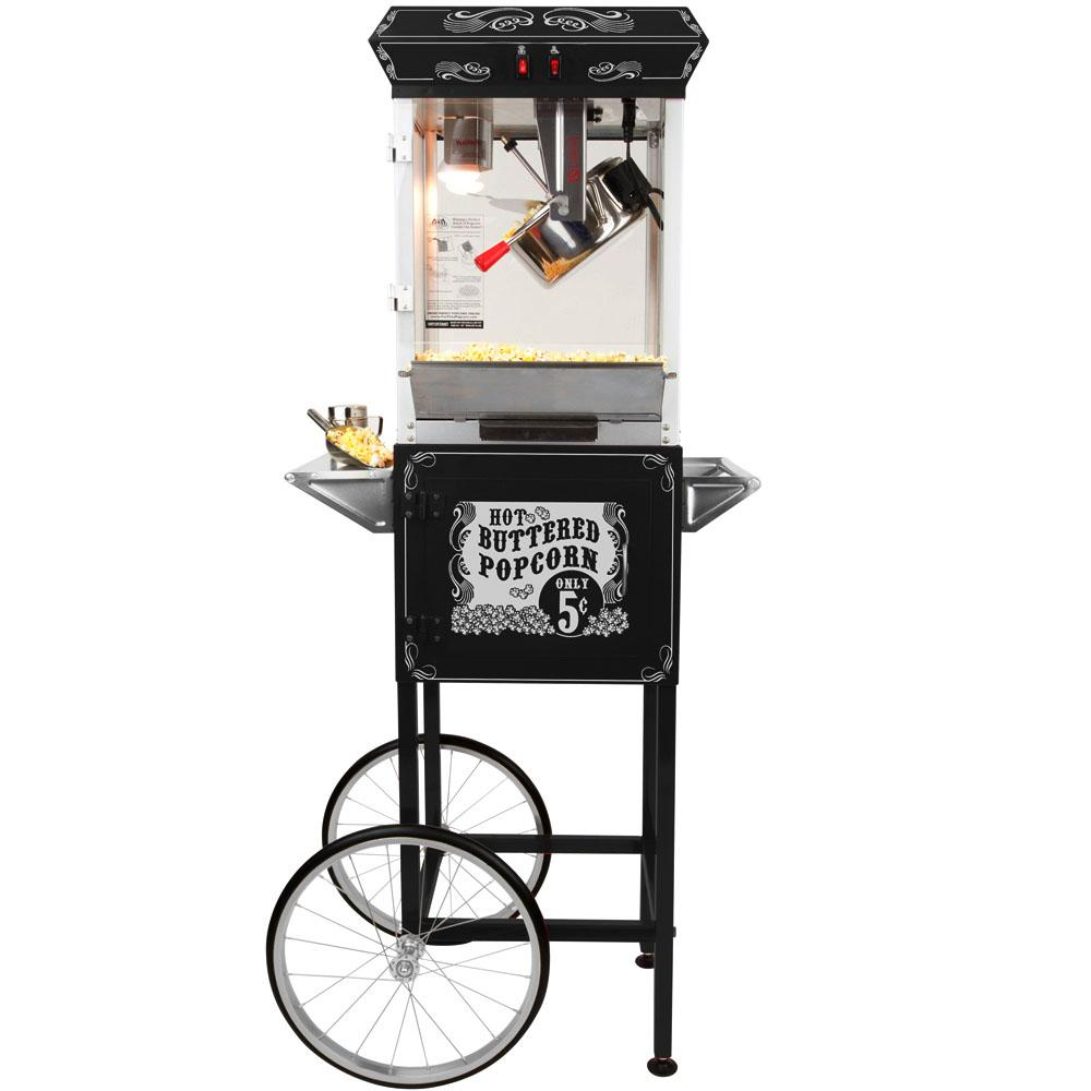 Funtime Carnival Style 8 oz. Popcorn Machine & Cart, Black/Silver Funtime Popcorn Machines are the hit of every party. Entertain your friends and family, while making some of the most delicious popcorn imaginable. These beautiful classic style popcorn machines bring back the fun feel of ­yesteryear, back to a time when you could buy a bag of hot buttery popcorn for a nickel. Color: Black / Silver.