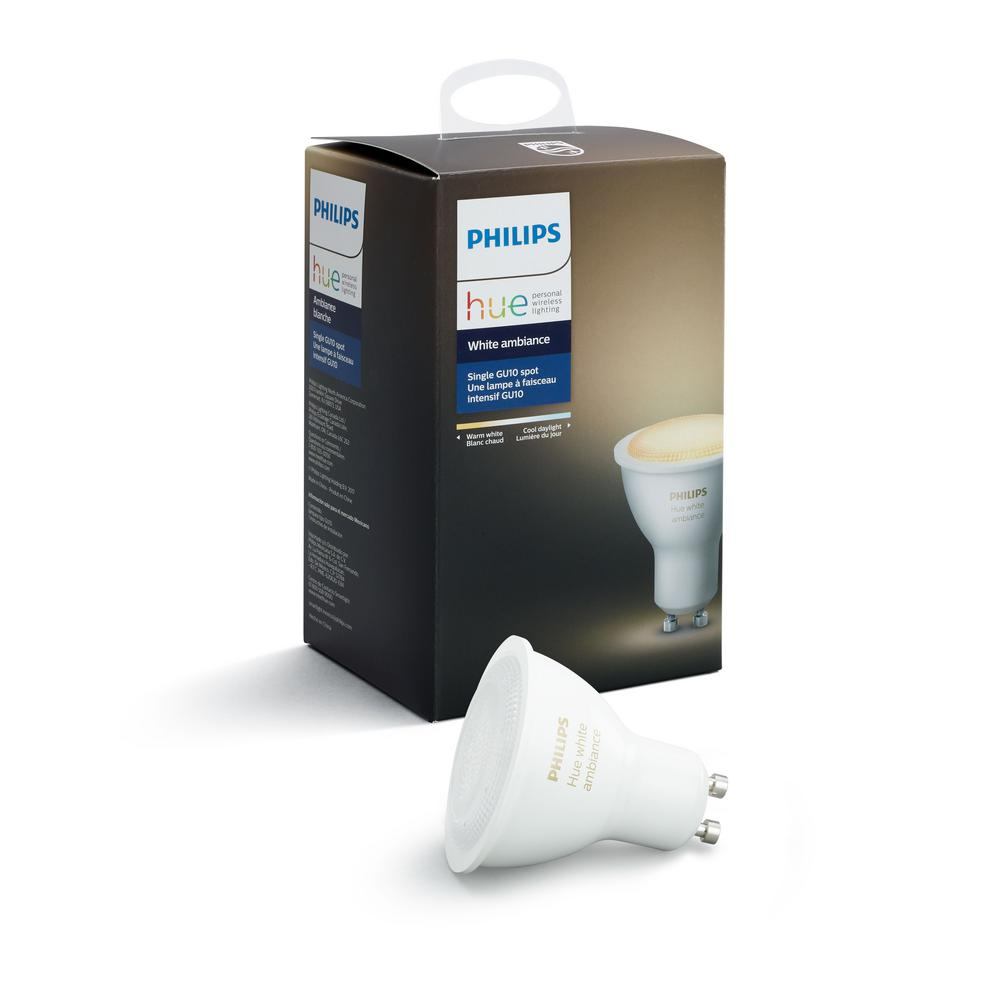 philips hue white ambiance gu10 dimmable led smart flood light 464677 the home depot. Black Bedroom Furniture Sets. Home Design Ideas