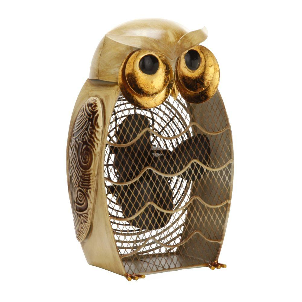 Deco Breeze 7 in. Figurine Fan-Snow Owl