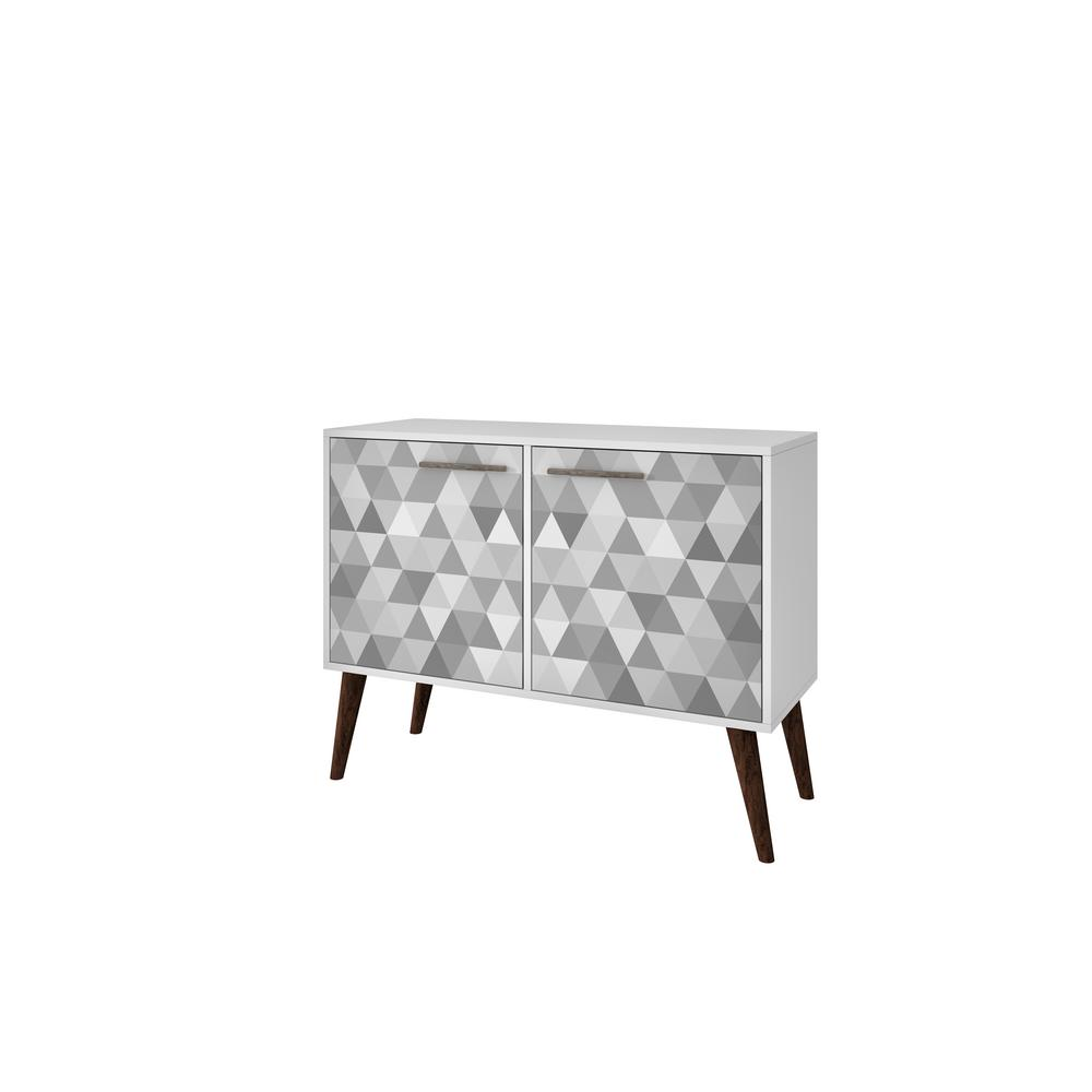 Manhattan Comfort Avesta 3 0 White And Grey Geometric Side Table