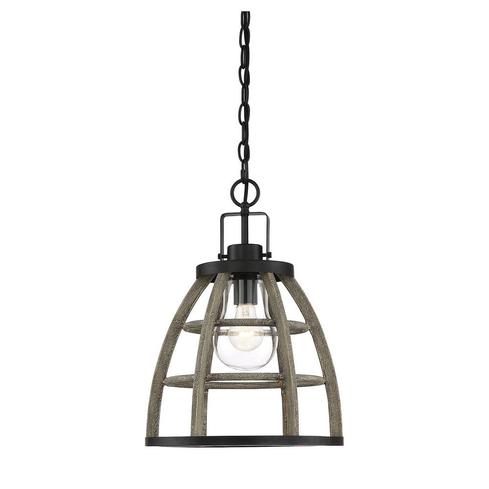 1-Light Small Weathered Birch Outdoor Hanging Chandelier with Clear Glass
