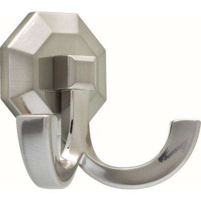 3-5/9 in. Satin Nickel Faceted Double Wall Hook