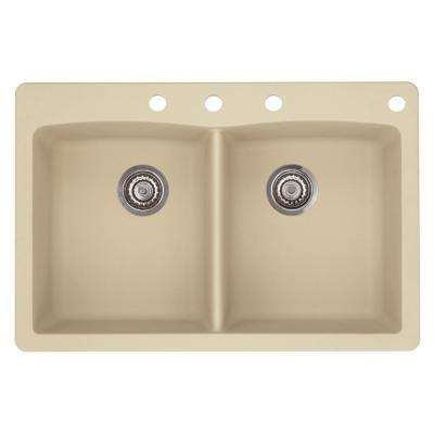 Diamond Dual-Mount Granite 33 in. 4-Hole 50/50 Double Bowl Kitchen Sink in Biscotti
